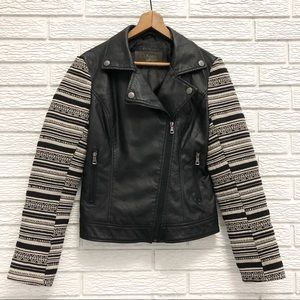 Jackets & Coats - Vegan Leather Moto Jacket w/ Fun Fabric Sleeves